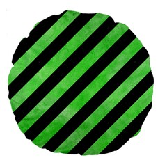 Stripes3 Black Marble & Green Watercolor Large 18  Premium Round Cushions by trendistuff