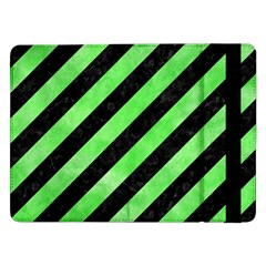 Stripes3 Black Marble & Green Watercolor Samsung Galaxy Tab Pro 12 2  Flip Case by trendistuff