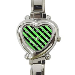 Stripes3 Black Marble & Green Watercolor (r) Heart Italian Charm Watch by trendistuff