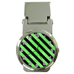 Stripes3 Black Marble & Green Watercolor (r) Money Clip Watches by trendistuff