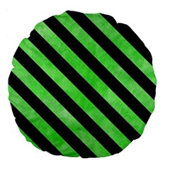 Stripes3 Black Marble & Green Watercolor (r) Large 18  Premium Round Cushions by trendistuff