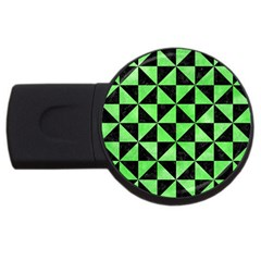 Triangle1 Black Marble & Green Watercolor Usb Flash Drive Round (2 Gb) by trendistuff