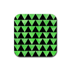 Triangle2 Black Marble & Green Watercolor Rubber Square Coaster (4 Pack)  by trendistuff