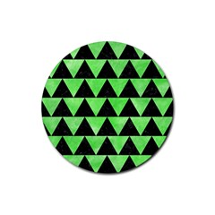 Triangle2 Black Marble & Green Watercolor Rubber Coaster (round)  by trendistuff