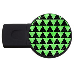 Triangle2 Black Marble & Green Watercolor Usb Flash Drive Round (4 Gb) by trendistuff