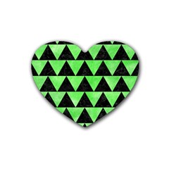 Triangle2 Black Marble & Green Watercolor Rubber Coaster (heart)  by trendistuff