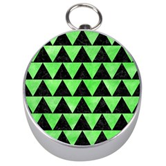 Triangle2 Black Marble & Green Watercolor Silver Compasses by trendistuff