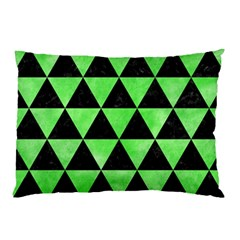 Triangle3 Black Marble & Green Watercolor Pillow Case (two Sides) by trendistuff