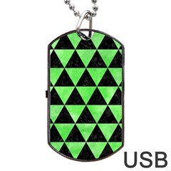 Triangle3 Black Marble & Green Watercolor Dog Tag Usb Flash (one Side) by trendistuff
