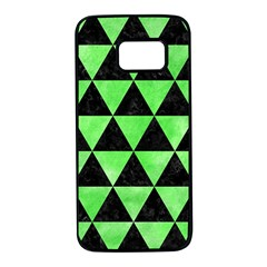Triangle3 Black Marble & Green Watercolor Samsung Galaxy S7 Black Seamless Case by trendistuff