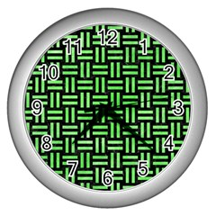Woven1 Black Marble & Green Watercolor Wall Clocks (silver)  by trendistuff