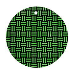 Woven1 Black Marble & Green Watercolor Round Ornament (two Sides) by trendistuff