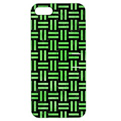 Woven1 Black Marble & Green Watercolor Apple Iphone 5 Hardshell Case With Stand by trendistuff
