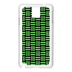 Woven1 Black Marble & Green Watercolor Samsung Galaxy Note 3 N9005 Case (white) by trendistuff