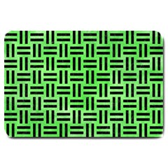 Woven1 Black Marble & Green Watercolor (r) Large Doormat
