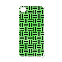 Woven1 Black Marble & Green Watercolor (r) Apple Iphone 4 Case (white)