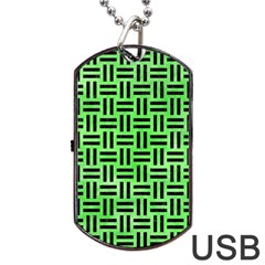Woven1 Black Marble & Green Watercolor (r) Dog Tag Usb Flash (one Side) by trendistuff