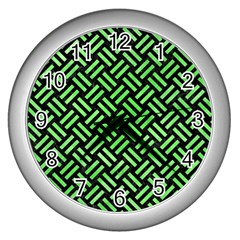Woven2 Black Marble & Green Watercolor Wall Clocks (silver)  by trendistuff