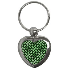 Woven2 Black Marble & Green Watercolor Key Chains (heart)  by trendistuff