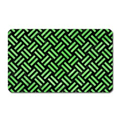 Woven2 Black Marble & Green Watercolor Magnet (rectangular) by trendistuff