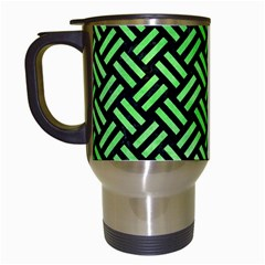 Woven2 Black Marble & Green Watercolor Travel Mugs (white) by trendistuff
