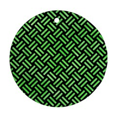 Woven2 Black Marble & Green Watercolor Round Ornament (two Sides) by trendistuff
