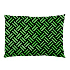 Woven2 Black Marble & Green Watercolor Pillow Case by trendistuff