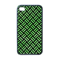 Woven2 Black Marble & Green Watercolor Apple Iphone 4 Case (black) by trendistuff