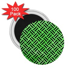 Woven2 Black Marble & Green Watercolor (r) 2 25  Magnets (100 Pack)  by trendistuff