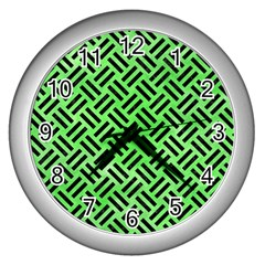 Woven2 Black Marble & Green Watercolor (r) Wall Clocks (silver)  by trendistuff