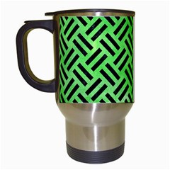 Woven2 Black Marble & Green Watercolor (r) Travel Mugs (white) by trendistuff