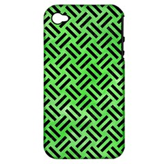 Woven2 Black Marble & Green Watercolor (r) Apple Iphone 4/4s Hardshell Case (pc+silicone) by trendistuff