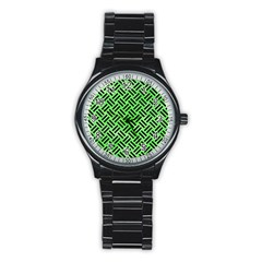 Woven2 Black Marble & Green Watercolor (r) Stainless Steel Round Watch by trendistuff