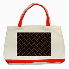 Brick2 Black Marble & Light Maple Wood Classic Tote Bag (red) by trendistuff