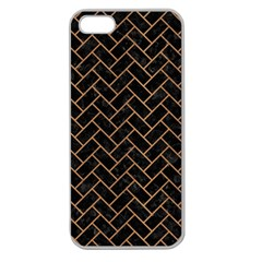 Brick2 Black Marble & Light Maple Wood Apple Seamless Iphone 5 Case (clear) by trendistuff