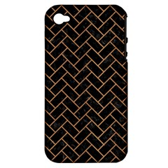 Brick2 Black Marble & Light Maple Wood Apple Iphone 4/4s Hardshell Case (pc+silicone)