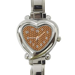 Brick2 Black Marble & Light Maple Wood (r) Heart Italian Charm Watch by trendistuff