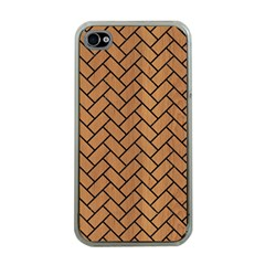 Brick2 Black Marble & Light Maple Wood (r) Apple Iphone 4 Case (clear)