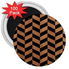Chevron1 Black Marble & Light Maple Wood 3  Magnets (100 Pack) by trendistuff