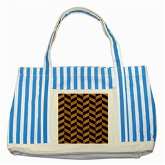 Chevron1 Black Marble & Light Maple Wood Striped Blue Tote Bag by trendistuff