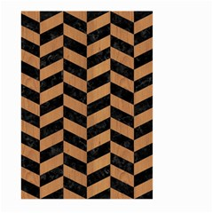 Chevron1 Black Marble & Light Maple Wood Large Garden Flag (two Sides) by trendistuff