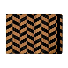 Chevron1 Black Marble & Light Maple Wood Ipad Mini 2 Flip Cases by trendistuff