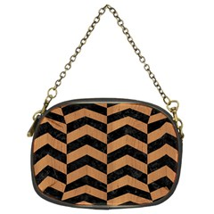 Chevron2 Black Marble & Light Maple Wood Chain Purses (two Sides)  by trendistuff