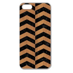 Chevron2 Black Marble & Light Maple Wood Apple Seamless Iphone 5 Case (clear) by trendistuff