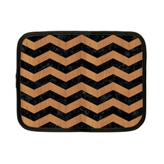 Chevron3 Black Marble & Light Maple Wood Netbook Case (small)  by trendistuff