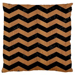 Chevron3 Black Marble & Light Maple Wood Large Cushion Case (two Sides) by trendistuff