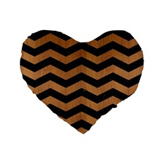 Chevron3 Black Marble & Light Maple Wood Standard 16  Premium Flano Heart Shape Cushions by trendistuff