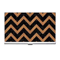 Chevron9 Black Marble & Light Maple Wood Business Card Holders by trendistuff