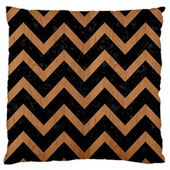 Chevron9 Black Marble & Light Maple Wood Large Flano Cushion Case (two Sides) by trendistuff