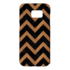 Chevron9 Black Marble & Light Maple Wood Samsung Galaxy S7 Edge Hardshell Case by trendistuff